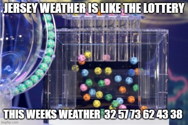 Jersey weather and the lottery |  JERSEY WEATHER IS LIKE THE LOTTERY; THIS WEEKS WEATHER  32 57 73 62 43 38 | image tagged in lottery,weather,new jersey memory page,lisa payne | made w/ Imgflip meme maker