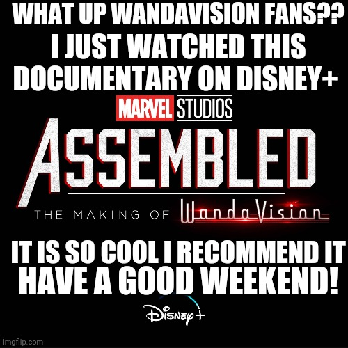 Watch it haha |  WHAT UP WANDAVISION FANS?? I JUST WATCHED THIS DOCUMENTARY ON DISNEY+; IT IS SO COOL I RECOMMEND IT; HAVE A GOOD WEEKEND! | image tagged in wandavision,disney plus | made w/ Imgflip meme maker