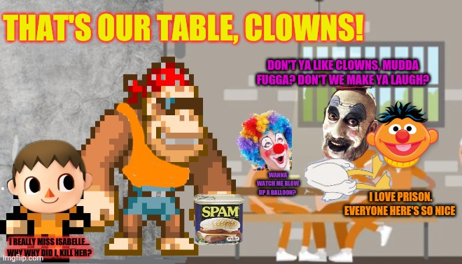 Surly meets the clown gang |  THAT'S OUR TABLE, CLOWNS! DON'T YA LIKE CLOWNS, MUDDA FUGGA? DON'T WE MAKE YA LAUGH? WANNA WATCH ME BLOW UP A BALLOON? I LOVE PRISON. EVERYONE HERE'S SO NICE; I REALLY MISS ISABELLE... WHY WHY DID I, KILL HER? | image tagged in smudge grey background,imgflip,prison,clown gang | made w/ Imgflip meme maker
