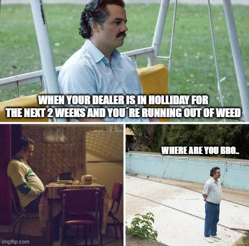 Sad Pablo Escobar Meme |  WHEN YOUR DEALER IS IN HOLLIDAY FOR THE NEXT 2 WEEKS AND YOU´RE RUNNING OUT OF WEED; WHERE ARE YOU BRO.. | image tagged in memes,sad pablo escobar | made w/ Imgflip meme maker