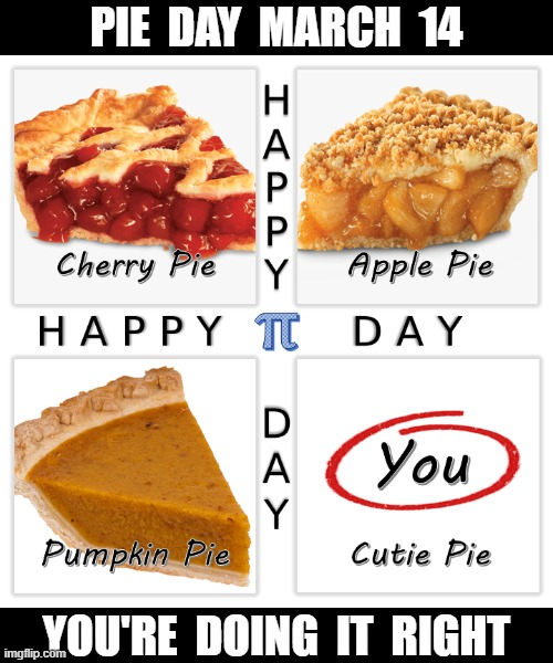 Pie Day - You're Doing It Right |  PIE  DAY  MARCH  14; YOU'RE  DOING  IT  RIGHT | image tagged in pie day,pi day,march 14th,cute | made w/ Imgflip meme maker