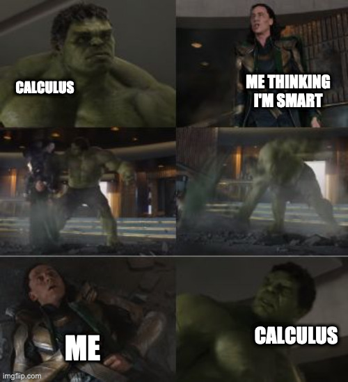 math |  ME THINKING I'M SMART; CALCULUS; CALCULUS; ME | image tagged in hulk and loki,calculus,help,math,math in a nutshell | made w/ Imgflip meme maker