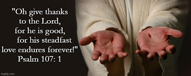 "Hesed |  ""Oh give thanks to the Lord, for he is good,     for his steadfast love endures forever!"" Psalm 107: 1 