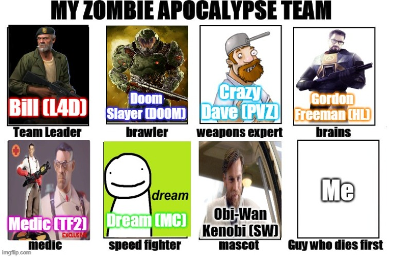 Zombie Apocalypse Team | image tagged in doom,dream,pvz,star wars,valve,zombies | made w/ Imgflip meme maker