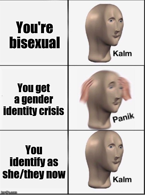 yes im talking abt myself i identify as she/they now :D |  You're bisexual; You get a gender identity crisis; You identify as she/they now | image tagged in reverse kalm panik,lgbtq,bi,she/they,pronouns,gender identity crisis | made w/ Imgflip meme maker