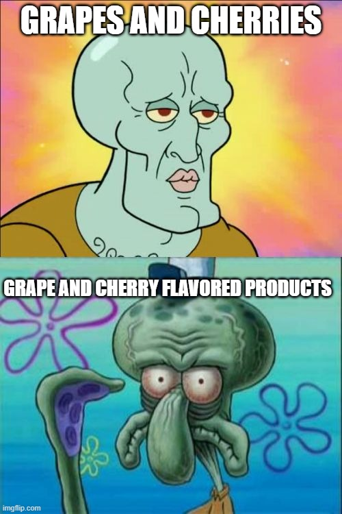 Flavoring can be nasty (And there's no such thing as blue razzberries) |  GRAPES AND CHERRIES; GRAPE AND CHERRY FLAVORED PRODUCTS | image tagged in memes,squidward,grape,cherry,handsome squidward,spongebob meme | made w/ Imgflip meme maker