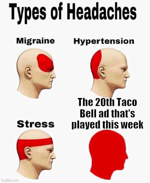 Give it a rest Taco Bell |  The 20th Taco Bell ad that's played this week | image tagged in headaches | made w/ Imgflip meme maker