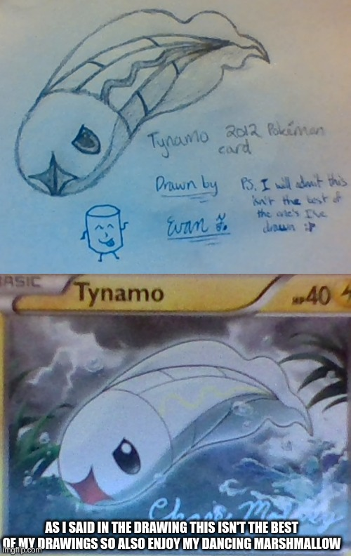 Tynamo |  AS I SAID IN THE DRAWING THIS ISN'T THE BEST OF MY DRAWINGS SO ALSO ENJOY MY DANCING MARSHMALLOW | image tagged in art,pokemon,hand drawn | made w/ Imgflip meme maker