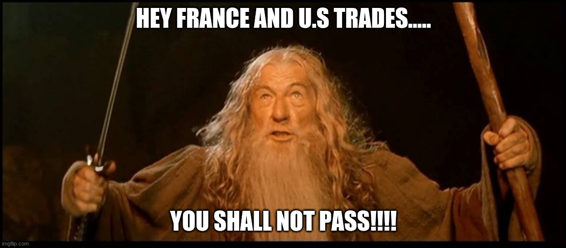 This is just for social in school if you get it you get it. |  HEY FRANCE AND U.S TRADES..... YOU SHALL NOT PASS!!!! | image tagged in gandalf you shall not pass | made w/ Imgflip meme maker