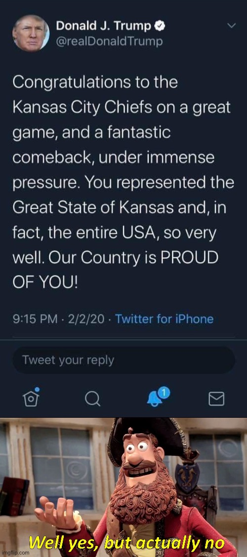 Wrong again | image tagged in donald trump kansas city kansas superbowl,geography,dumbass,missouri,well yes but actually no | made w/ Imgflip meme maker