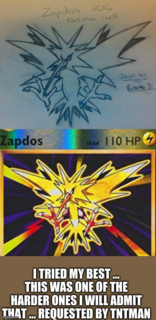 Zapdos |  I TRIED MY BEST ... THIS WAS ONE OF THE HARDER ONES I WILL ADMIT THAT ... REQUESTED BY TNTMAN | image tagged in art,pokemon,hand drawn | made w/ Imgflip meme maker