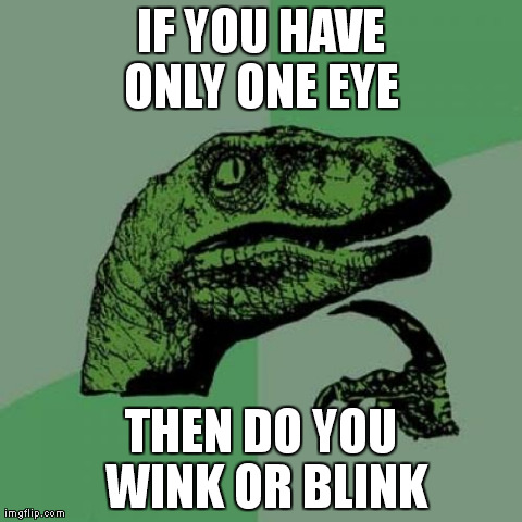 Philosoraptor | IF YOU HAVE ONLY ONE EYE  THEN DO YOU WINK OR BLINK | image tagged in memes,philosoraptor | made w/ Imgflip meme maker