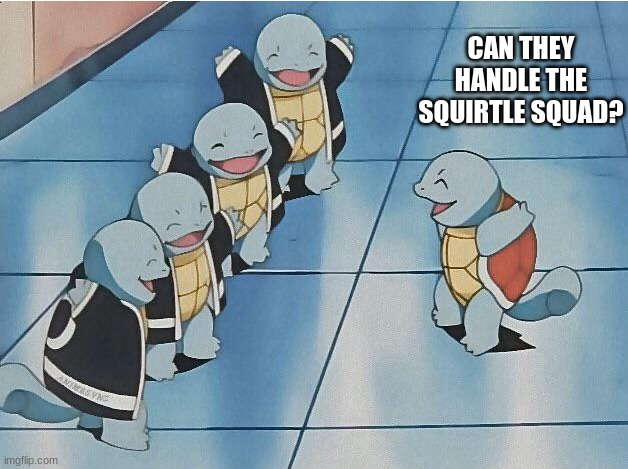 Squirtle Squad?Anybody? |  CAN THEY HANDLE THE SQUIRTLE SQUAD? | image tagged in squirtle squad | made w/ Imgflip meme maker