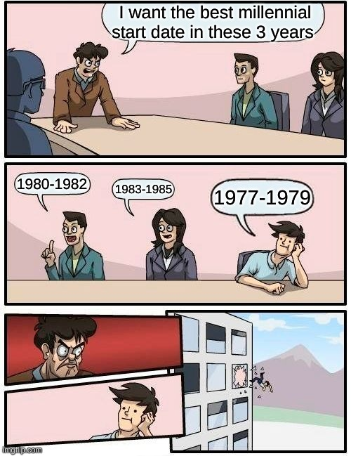 Millennial start date must be at least 1980 |  I want the best millennial start date in these 3 years; 1980-1982; 1983-1985; 1977-1979 | image tagged in memes,boardroom meeting suggestion,millennial | made w/ Imgflip meme maker