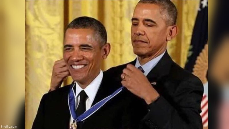 Obama giving Obama award | image tagged in obama giving obama award | made w/ Imgflip meme maker