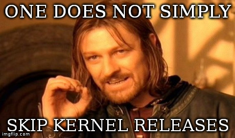 One Does Not Simply Meme | ONE DOES NOT SIMPLY SKIP KERNEL RELEASES | image tagged in memes,one does not simply | made w/ Imgflip meme maker