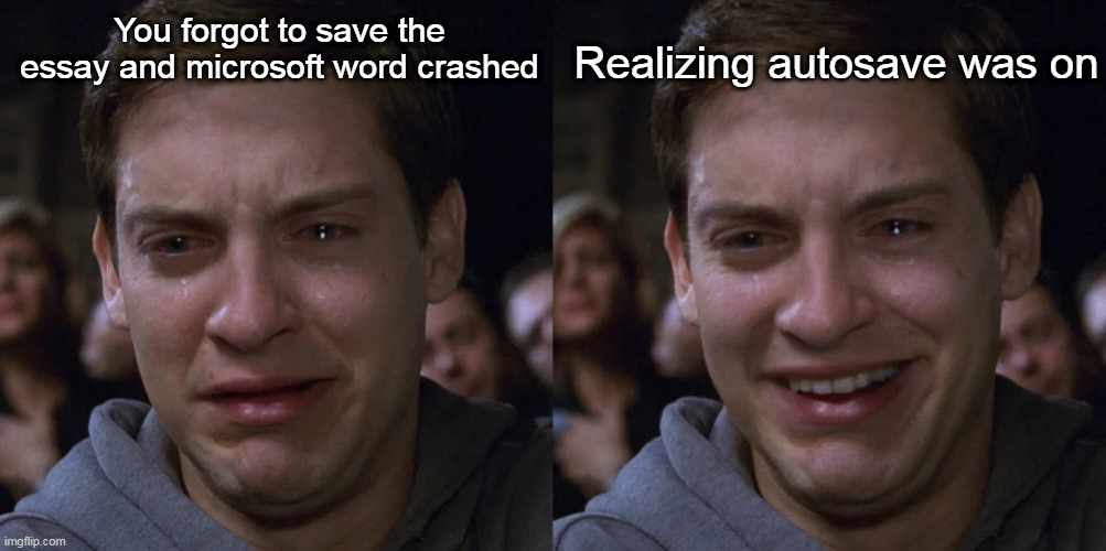 cries in happiness |  Realizing autosave was on; You forgot to save the essay and microsoft word crashed | image tagged in crying peter parker,essays,i hate mondays,i hate school | made w/ Imgflip meme maker