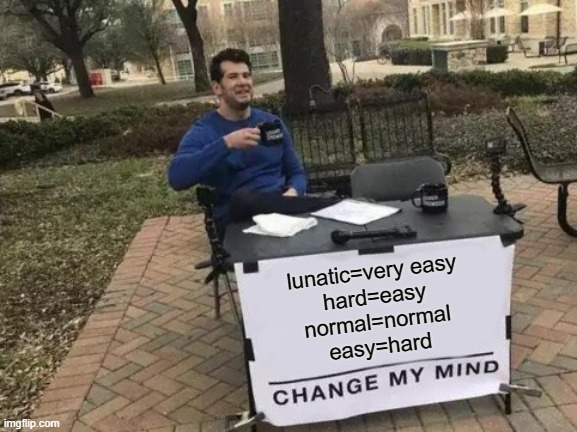 Change My Mind |  lunatic=very easy hard=easy normal=normal easy=hard | image tagged in memes,change my mind | made w/ Imgflip meme maker