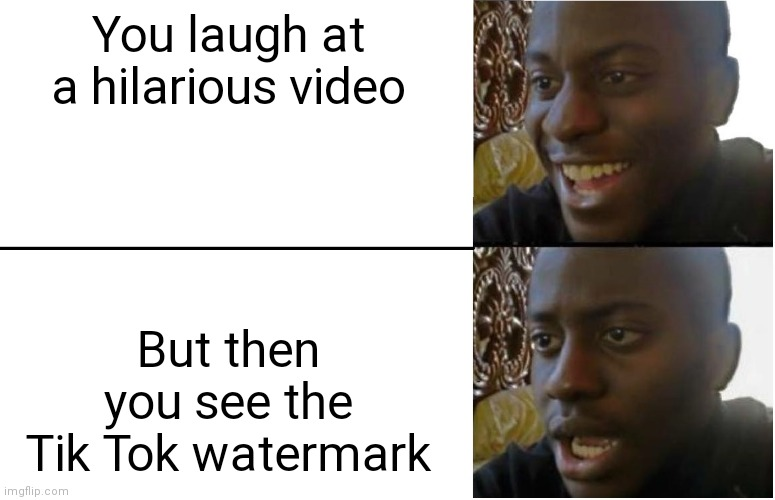 Then you see the watermark... |  You laugh at a hilarious video; But then you see the Tik Tok watermark | image tagged in disappointed black guy,tik tok bad,funny | made w/ Imgflip meme maker