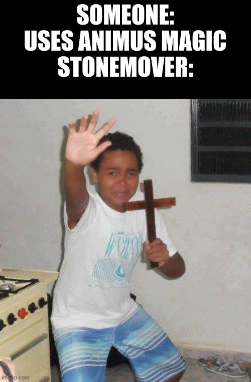 Funny memes |  SOMEONE: USES ANIMUS MAGIC STONEMOVER: | image tagged in kid with cross,wings of fire,funny | made w/ Imgflip meme maker