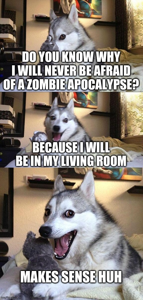 this makes so much sence |  DO YOU KNOW WHY I WILL NEVER BE AFRAID OF A ZOMBIE APOCALYPSE? BECAUSE I WILL BE IN MY LIVING ROOM; MAKES SENSE HUH | image tagged in memes,bad pun dog,zombie apocalypse,bad jokes | made w/ Imgflip meme maker