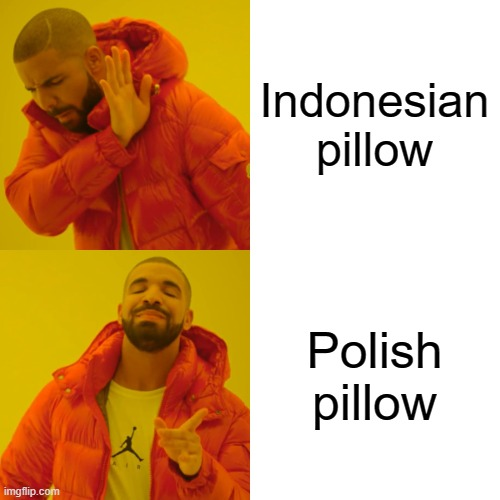 Indonesian pillow Polish pillow | image tagged in memes,drake hotline bling | made w/ Imgflip meme maker