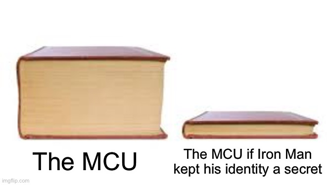 Big book small book |  The MCU if Iron Man kept his identity a secret; The MCU | image tagged in big book small book,memes,marvel | made w/ Imgflip meme maker