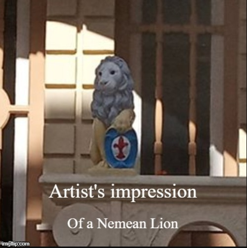 Rare photographed image of a nemean lion. | image tagged in memes,lion,lion king,art,picasso | made w/ Imgflip meme maker
