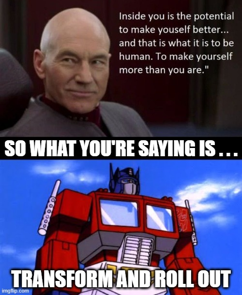 So What You're Saying - Picard & Optimus |  SO WHAT YOU'RE SAYING IS . . . TRANSFORM AND ROLL OUT | image tagged in so what you're saying,transformers,star trek,memes | made w/ Imgflip meme maker