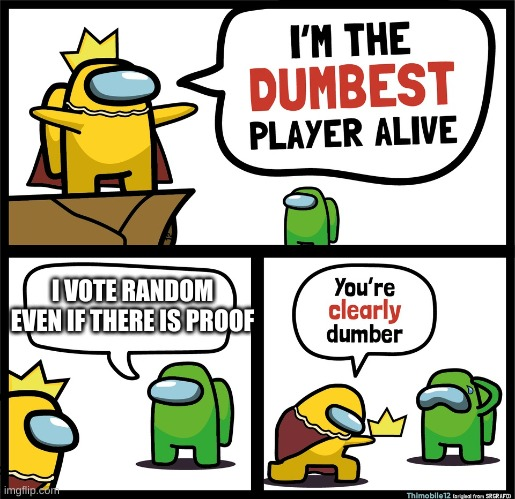 Among Us dumbest player |  I VOTE RANDOM EVEN IF THERE IS PROOF | image tagged in among us dumbest player | made w/ Imgflip meme maker