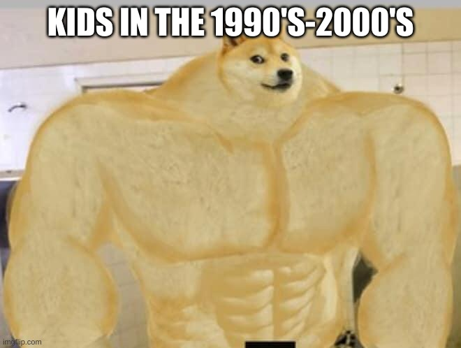 Buff Doge | KIDS IN THE 1990'S-2000'S | image tagged in buff doge | made w/ Imgflip meme maker