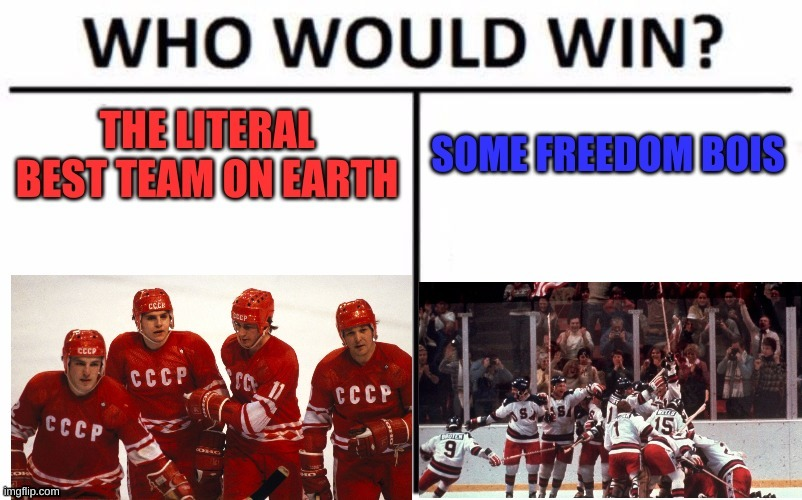 spoiler alert: the americans win | image tagged in miracle,hockey | made w/ Imgflip meme maker