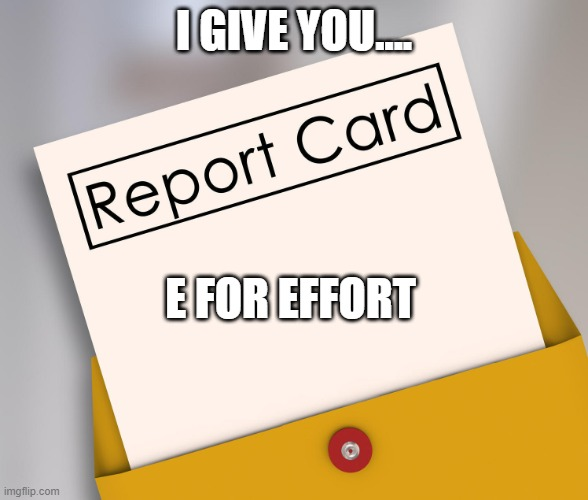 Report Card | I GIVE YOU.... E FOR EFFORT | image tagged in report card | made w/ Imgflip meme maker