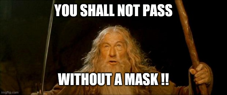 Gandalf no mask |  YOU SHALL NOT PASS; WITHOUT A MASK !! | image tagged in gandalf you shall not pass | made w/ Imgflip meme maker