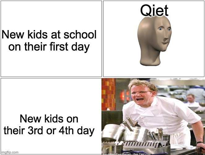 Blank Comic Panel 2x2 |  Qiet; New kids at school on their first day; New kids on their 3rd or 4th day | image tagged in memes,blank comic panel 2x2 | made w/ Imgflip meme maker