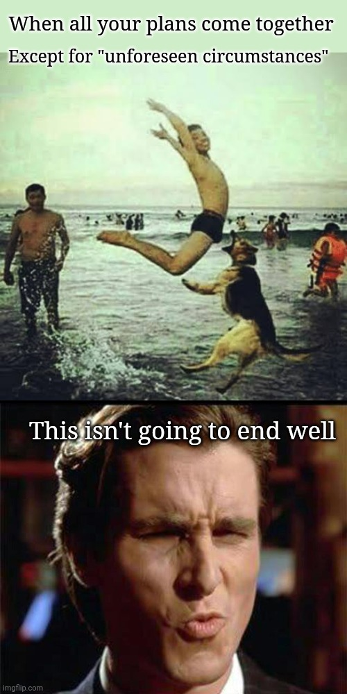 "Fun Times |  When all your plans come together; Except for ""unforeseen circumstances""; This isn't going to end well 