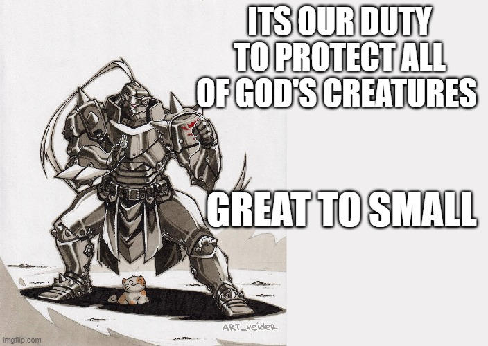 ITS OUR DUTY TO PROTECT ALL OF GOD'S CREATURES; GREAT TO SMALL | image tagged in fullmetal alchemist | made w/ Imgflip meme maker