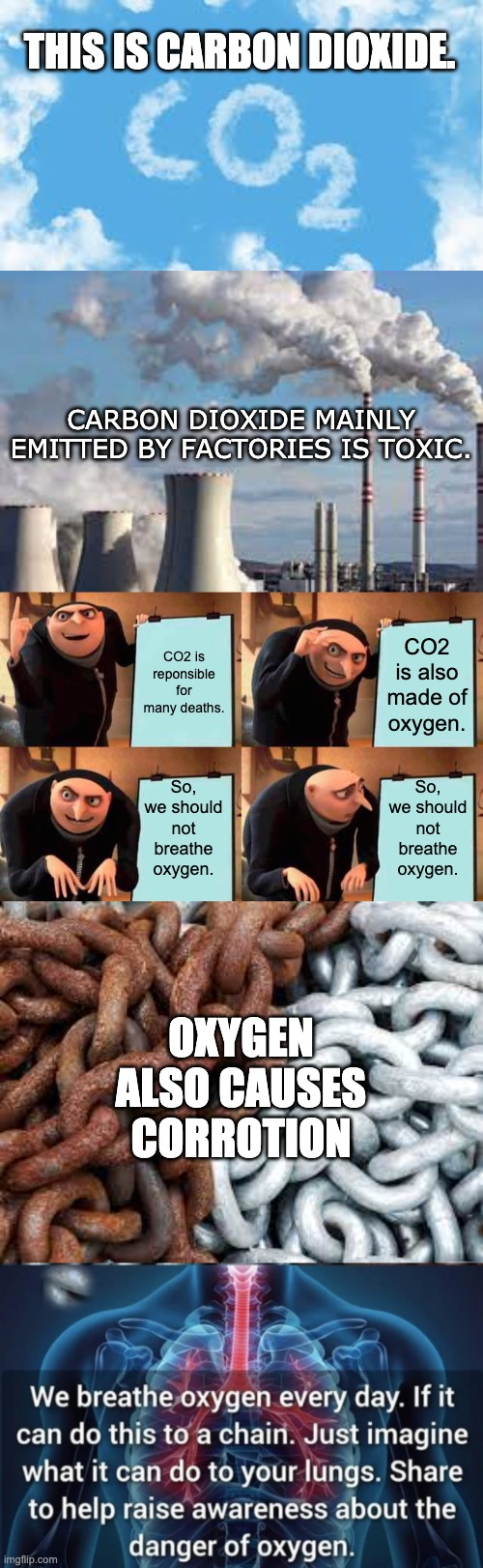 CO2 is made of oxygen. |  THIS IS CARBON DIOXIDE. CARBON DIOXIDE MAINLY EMITTED BY FACTORIES IS TOXIC. CO2 is reponsible for many deaths. CO2 is also made of oxygen. So, we should not breathe oxygen. So, we should not breathe oxygen. OXYGEN ALSO CAUSES CORROTION | image tagged in memes,gru's plan,carbon,oxygen | made w/ Imgflip meme maker