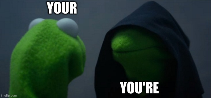 YOUR YOU'RE | image tagged in memes,evil kermit | made w/ Imgflip meme maker