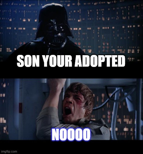 Star Wars No Meme |  SON YOUR ADOPTED; NOOOO | image tagged in memes,star wars no | made w/ Imgflip meme maker
