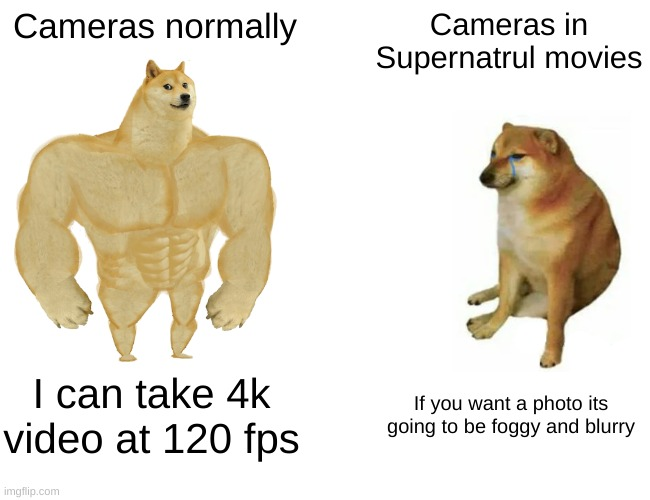 Wish i had a camera that good. |  Cameras normally; Cameras in Supernatrul movies; I can take 4k video at 120 fps; If you want a photo its going to be foggy and blurry | image tagged in memes,buff doge vs cheems,camera,funny memes | made w/ Imgflip meme maker