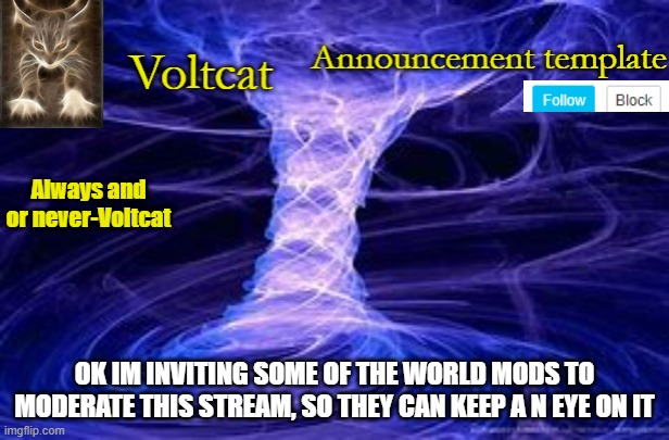 New Volcat Announcment template |  OK IM INVITING SOME OF THE WORLD MODS TO MODERATE THIS STREAM, SO THEY CAN KEEP A N EYE ON IT | image tagged in new volcat announcment template | made w/ Imgflip meme maker