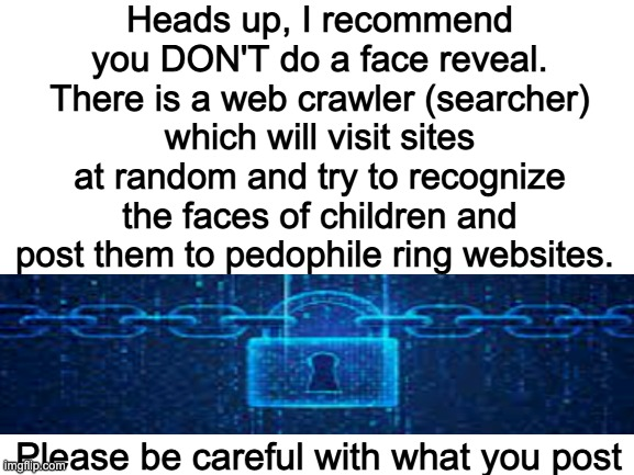 Rule #6 : No leaking personal Information |  Heads up, I recommend you DON'T do a face reveal. There is a web crawler (searcher) which will visit sites at random and try to recognize the faces of children and post them to pedophile ring websites. Please be careful with what you post | image tagged in blank white template | made w/ Imgflip meme maker