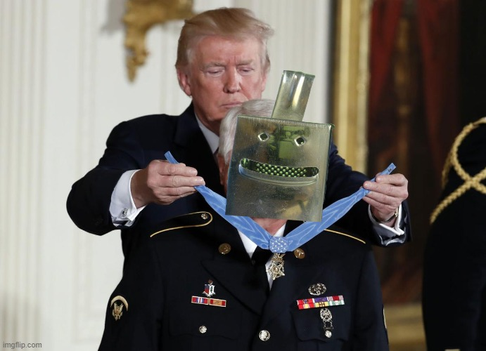 Trump giving Medal of Honor | image tagged in trump giving medal of honor | made w/ Imgflip meme maker
