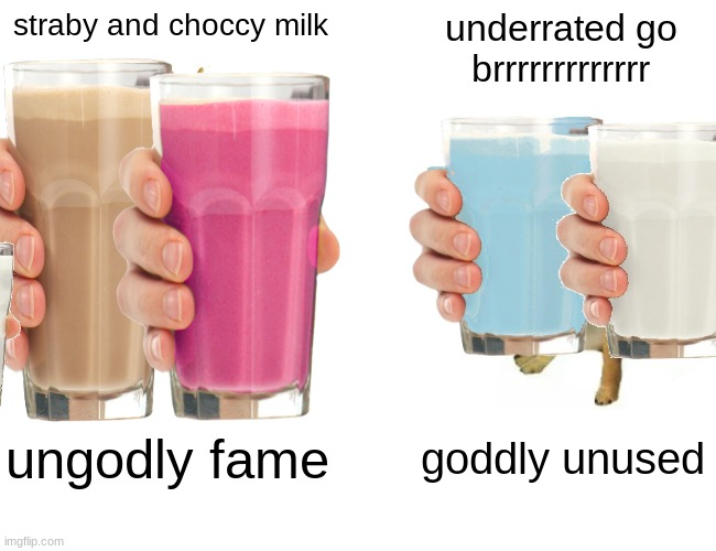 Buff Doge vs. Cheems |  straby and choccy milk; underrated go brrrrrrrrrrrrr; ungodly fame; goddly unused | image tagged in memes,have some choccy milk,straby milk,blueberry,milk,vanilla | made w/ Imgflip meme maker
