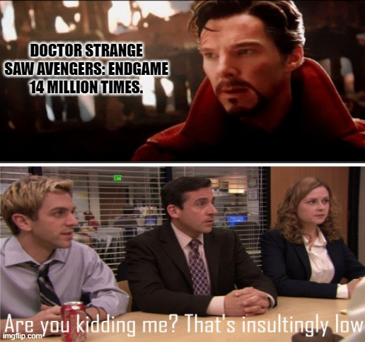 Best i can do 20 mill |  DOCTOR STRANGE SAW AVENGERS: ENDGAME 14 MILLION TIMES. | image tagged in blank white template,avengers endgame,doctor strange,marvel,mcu | made w/ Imgflip meme maker