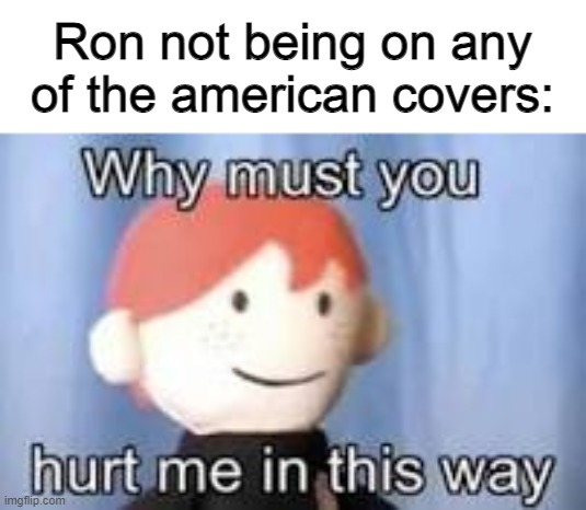 Why must you hurt me in this way |  Ron not being on any of the american covers: | image tagged in why must you hurt me in this way | made w/ Imgflip meme maker