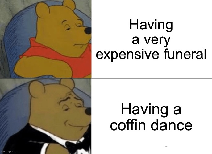 Tuxedo Winnie The Pooh Meme |  Having a very expensive funeral; Having a coffin dance | image tagged in memes,tuxedo winnie the pooh | made w/ Imgflip meme maker