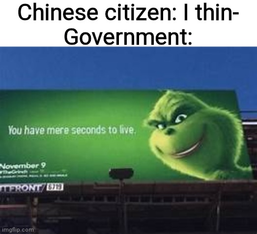 No, you don't |  Chinese citizen: I thin- Government: | image tagged in you have mere seconds to live,china,never gonna give you up,never gonna let you down,never gonna run around,and desert you | made w/ Imgflip meme maker
