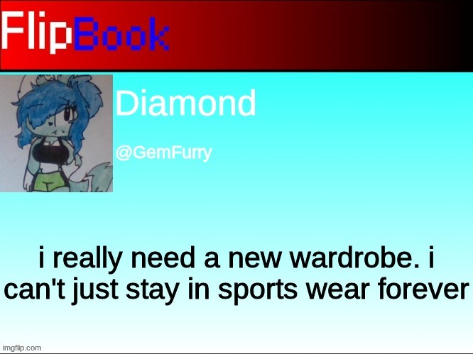 FlipBook profile |  Diamond; @GemFurry; i really need a new wardrobe. i can't just stay in sports wear forever | image tagged in flipbook profile | made w/ Imgflip meme maker